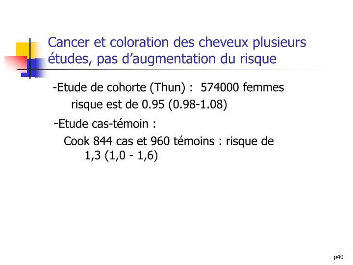 Cancer et coloration des cheveux plusieurs études, pas d'augmentation du risque