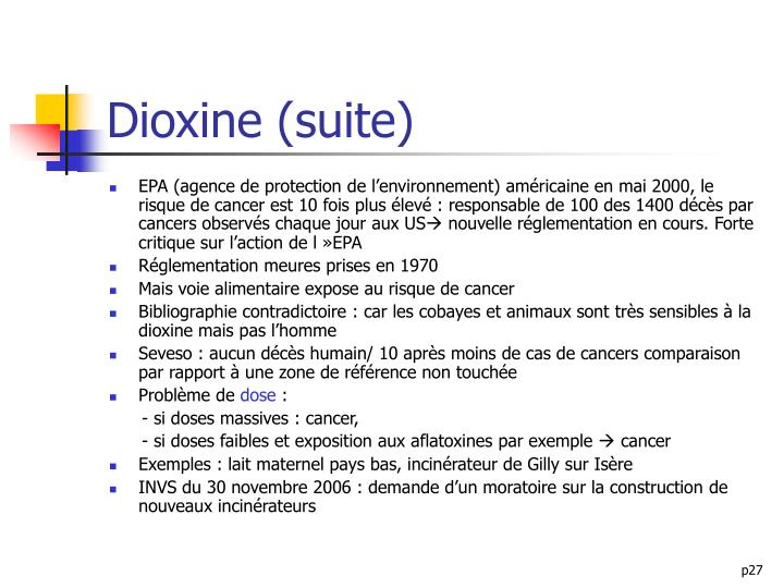 Dioxine (suite)