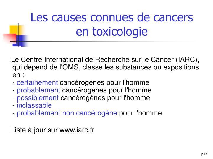 Les causes connues de cancers