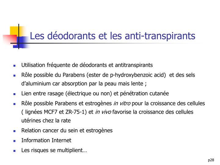 Les déodorants et les anti-transpirants