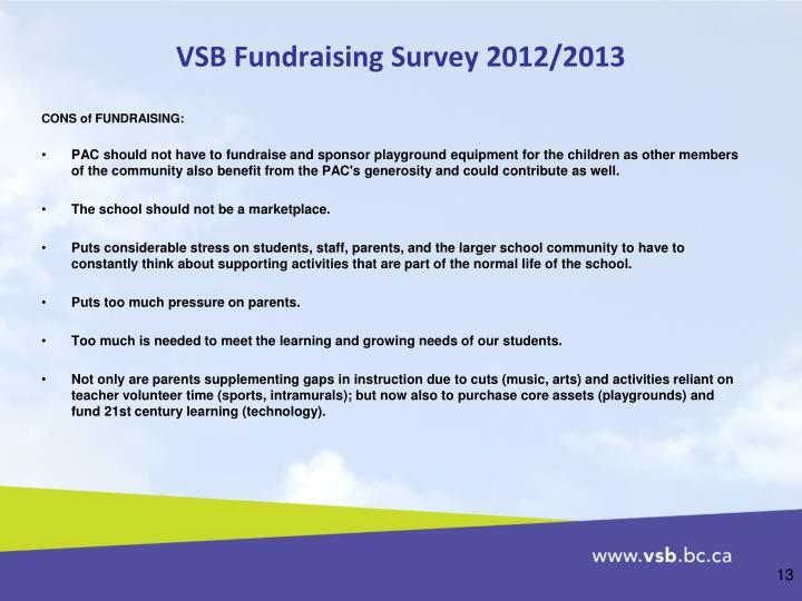 VSB Fundraising Survey 2012/2013