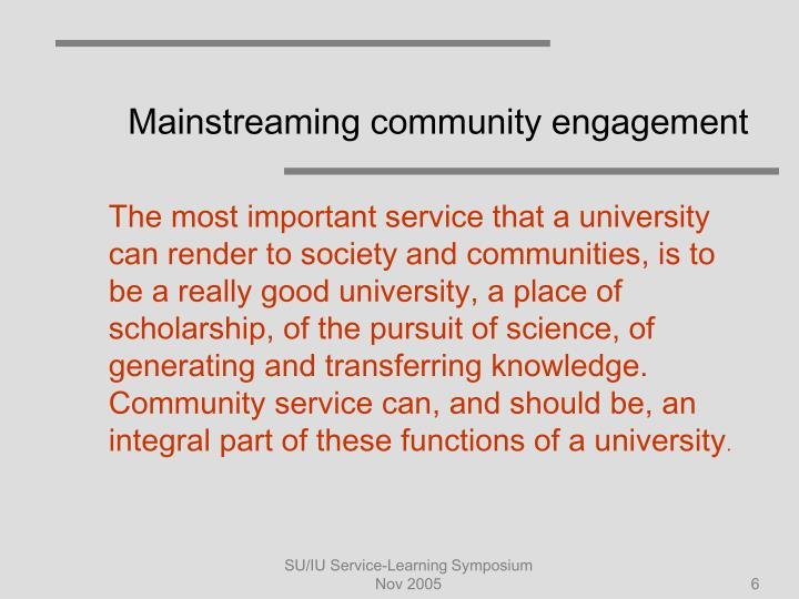 Mainstreaming community engagement