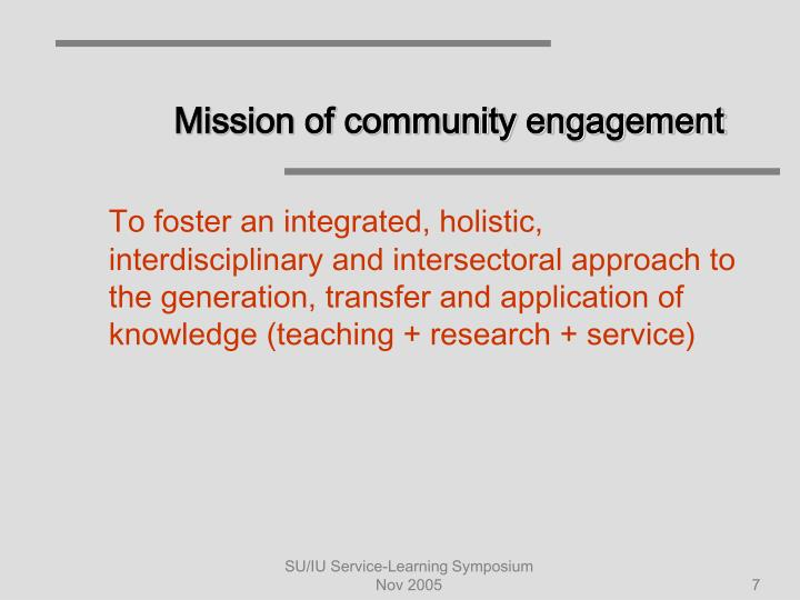 Mission of community engagement