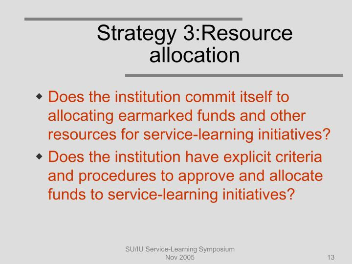 Strategy 3:Resource allocation