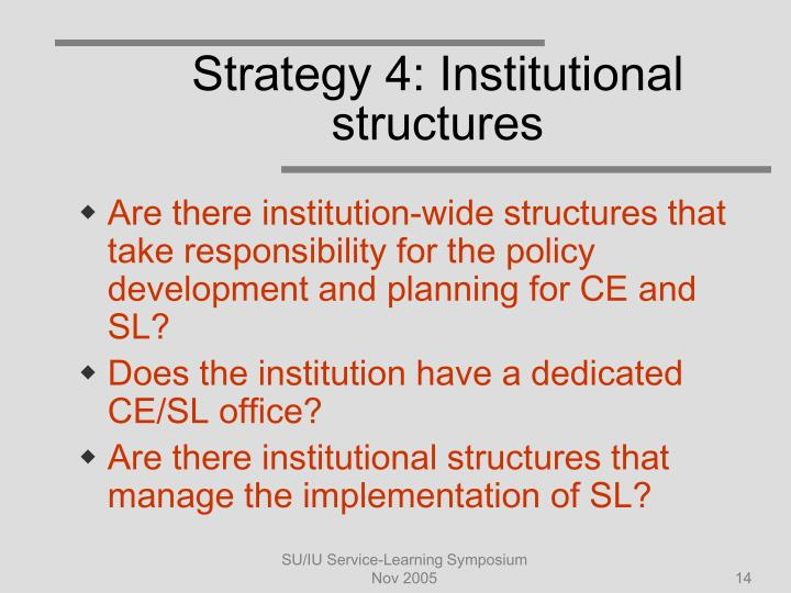 Strategy 4: Institutional structures