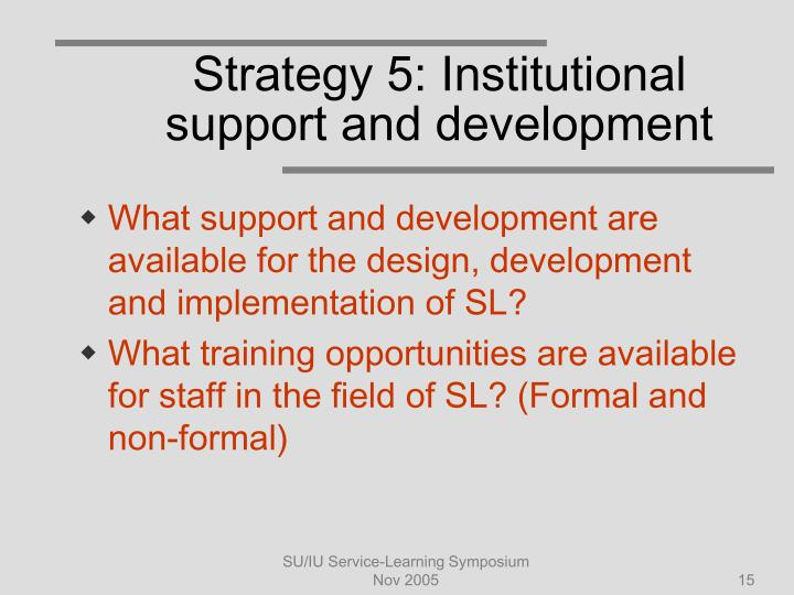 Strategy 5: Institutional support and development