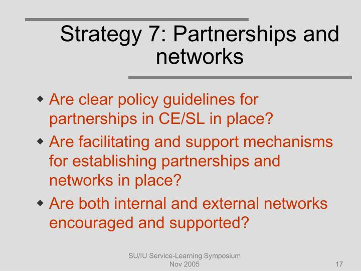 Strategy 7: Partnerships and networks