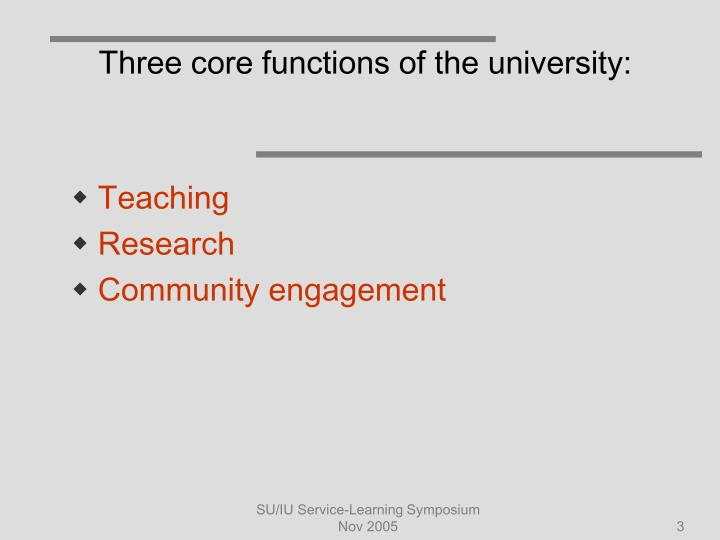 Three core functions of the university