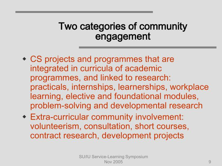 Two categories of community engagement