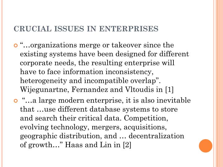 Crucial issues in enterprises