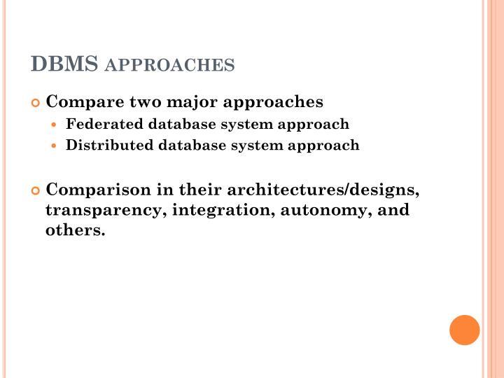 DBMS approaches
