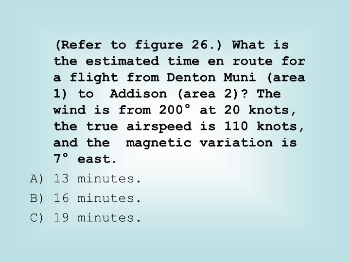 (Refer to figure 26.) What is the estimated time en route for a flight from Denton Muni (area 1) to  Addison (area 2)? The wind is from 200° at 20 knots, the true airspeed is 110 knots, and the  magnetic variation is 7° east.