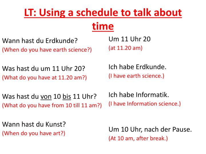 LT: Using a schedule to talk about time