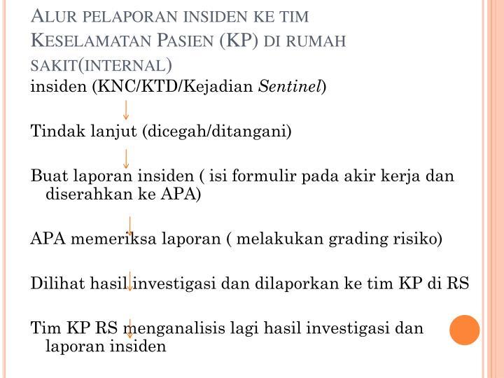 Alur pelaporan insiden ke tim Keselamatan Pasien (KP)