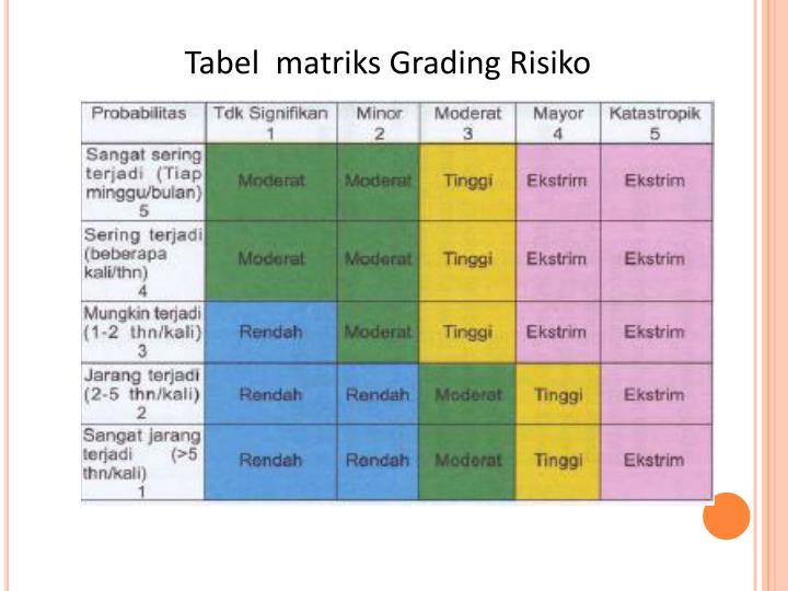 Tabel  matriks Grading Risiko
