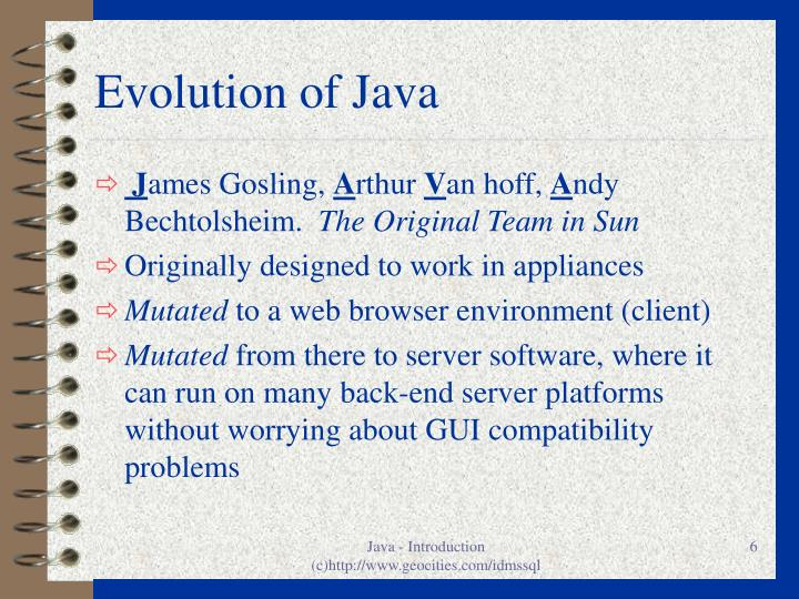 Evolution of Java