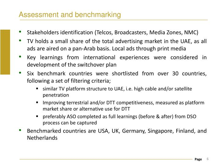 Assessment and benchmarking