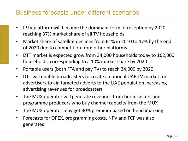 Business forecasts under different scenarios