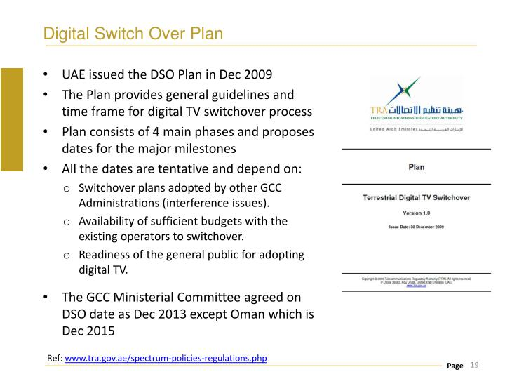 Digital Switch Over Plan