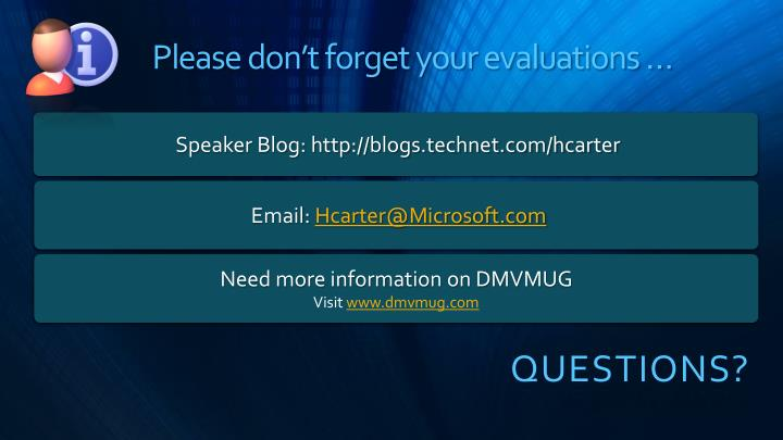 Please don't forget your evaluations …