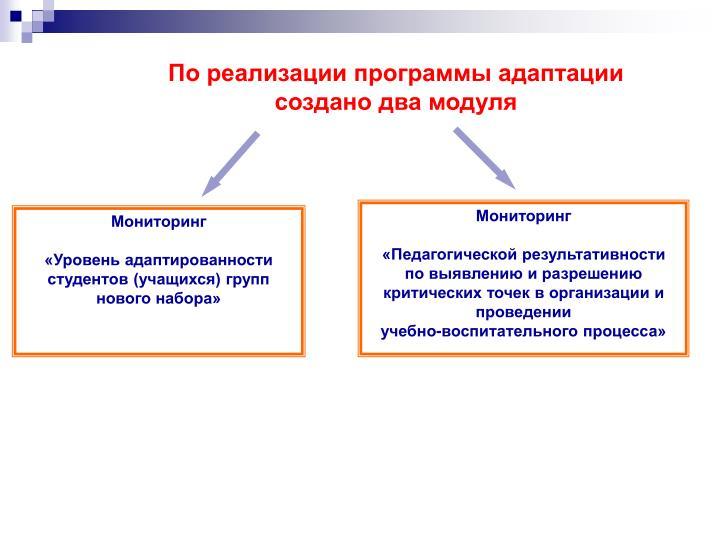 По реализации программы адаптации создано два модуля