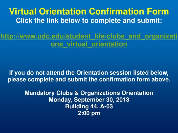 Virtual Orientation Confirmation Form