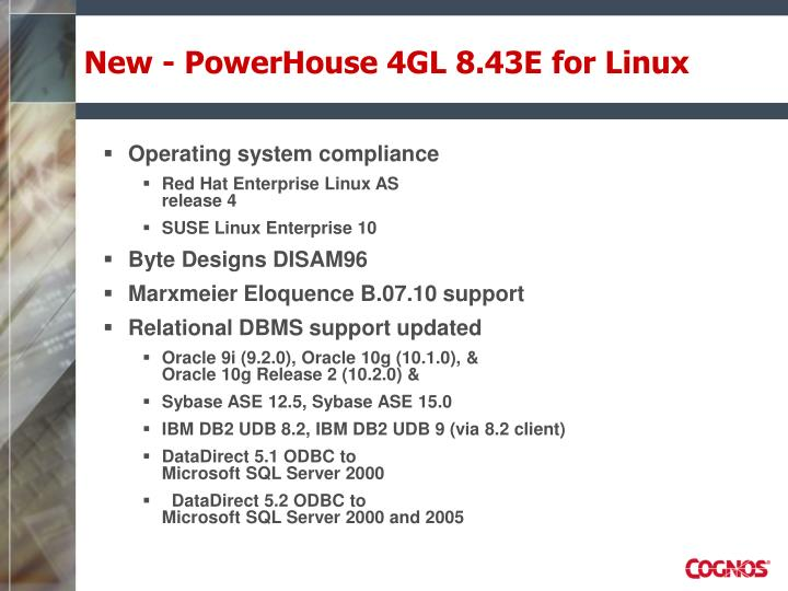 New - PowerHouse 4GL 8.43E for Linux