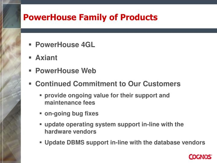 PowerHouse Family of Products