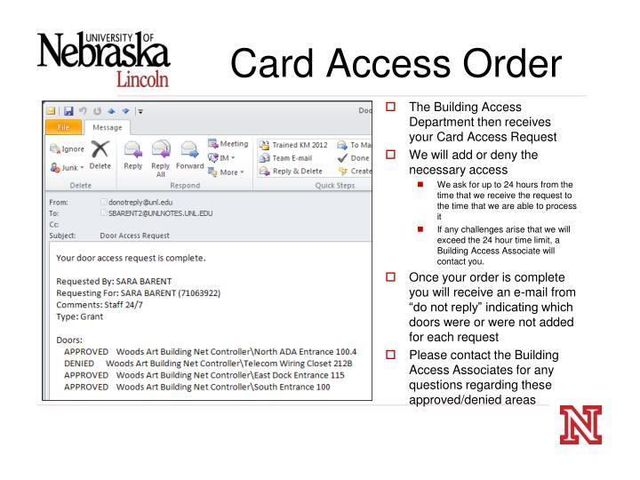 Card Access Order