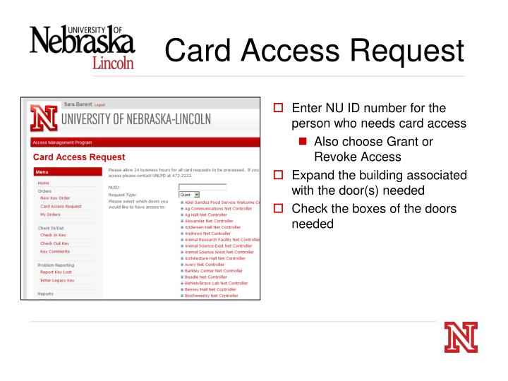 Card Access Request