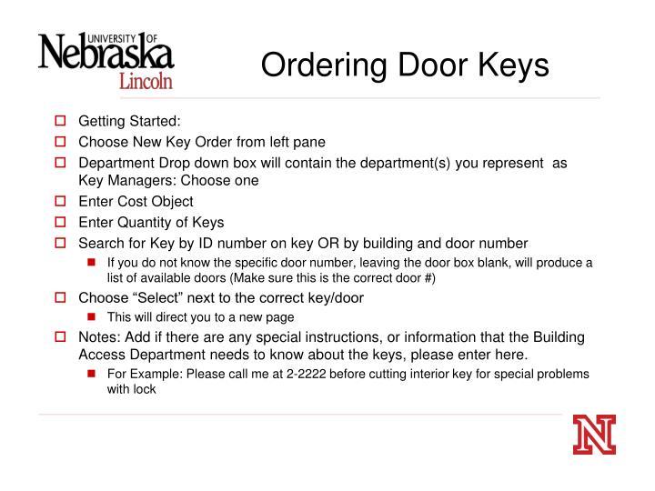 Ordering Door Keys
