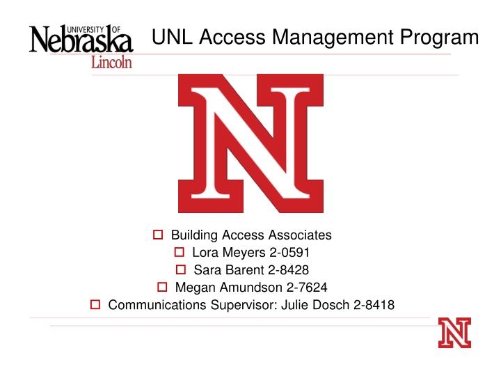 Unl access management program