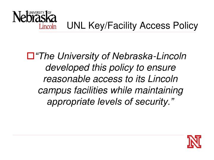 UNL Key/Facility Access Policy