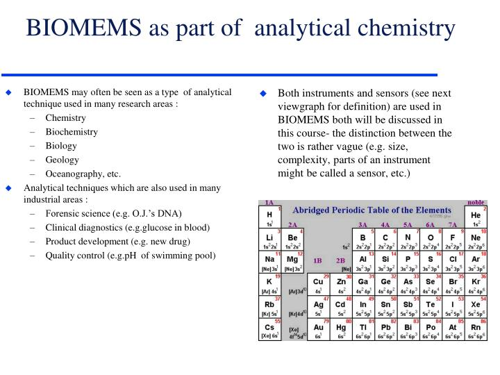 BIOMEMS may often be seen as a type  of analytical technique used in many research areas :