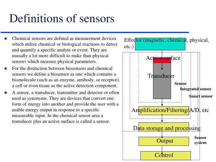 Definitions of sensors