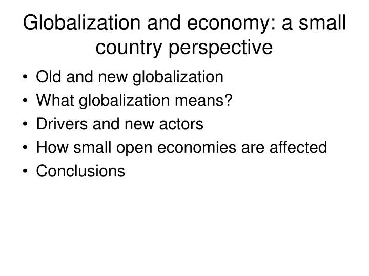 Globalization and economy: a small country perspective