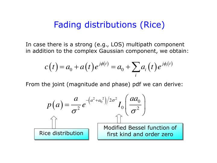 Fading distributions (Rice)