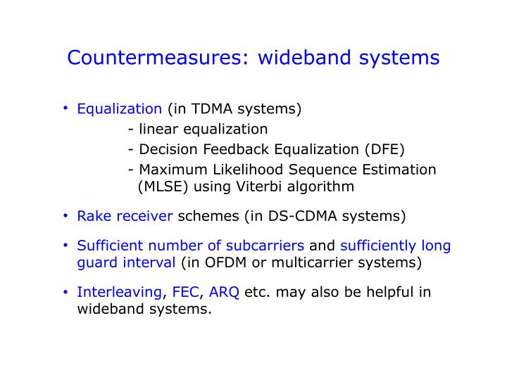 Countermeasures: wideband systems