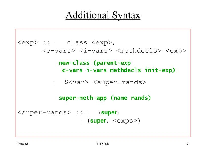 Additional Syntax