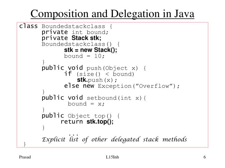 Composition and Delegation in Java