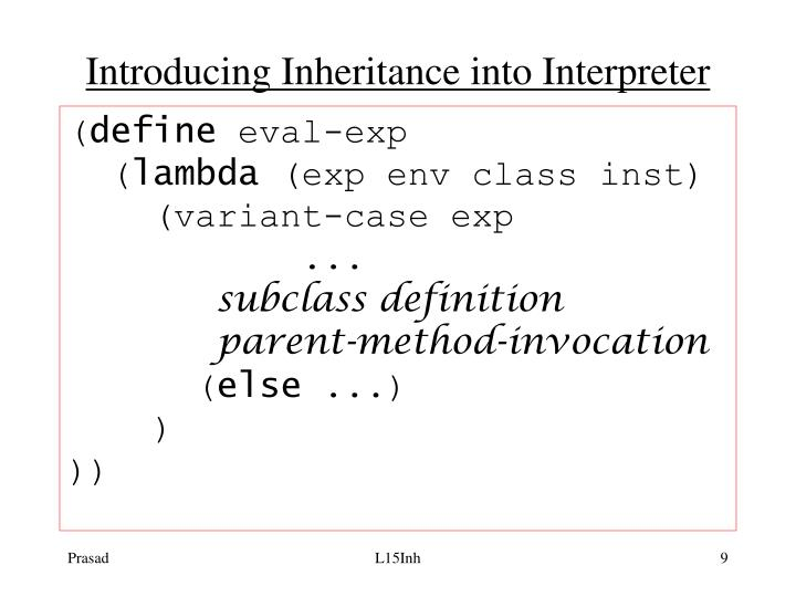 Introducing Inheritance into Interpreter