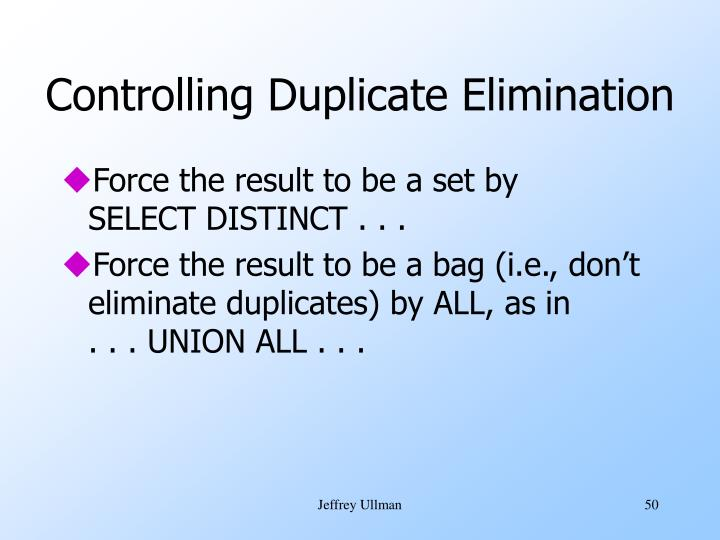 Controlling Duplicate Elimination