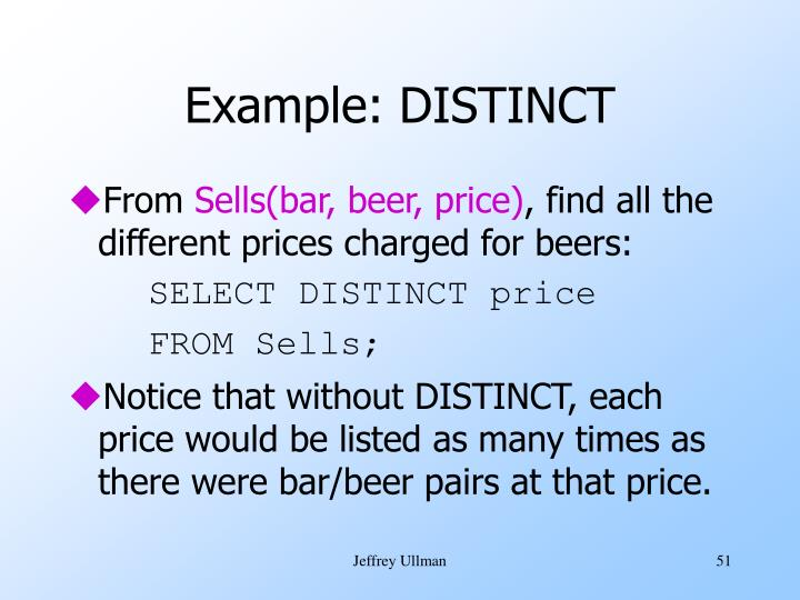 Example: DISTINCT