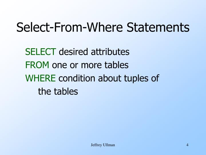 Select-From-Where Statements