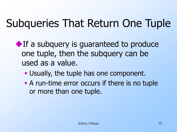 Subqueries That Return One Tuple
