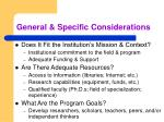 general specific considerations