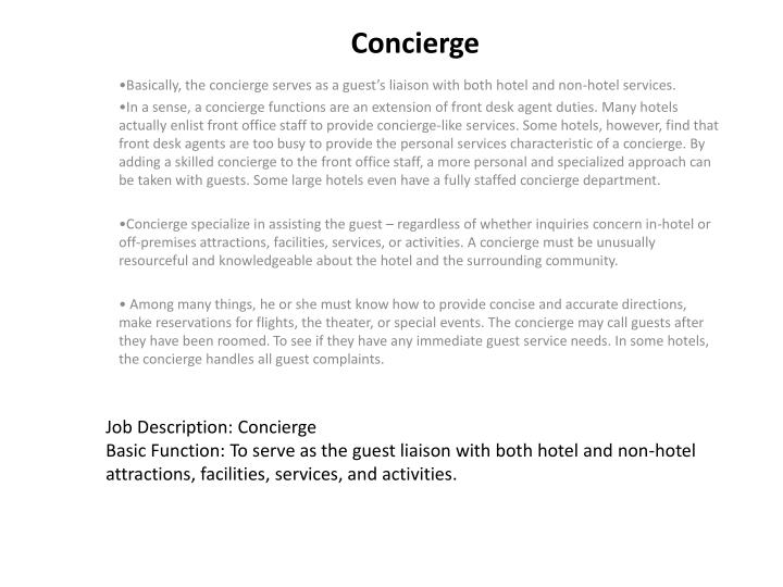 Guest Relation Officer JdConcierge Job Description  Spa