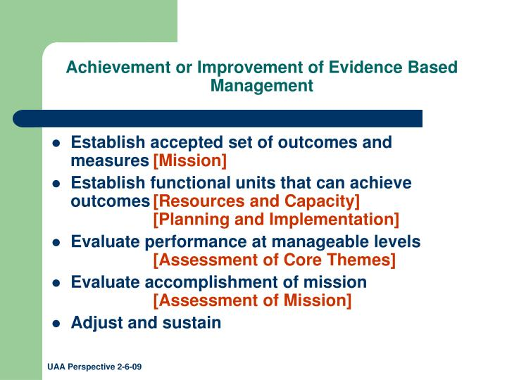 Achievement or Improvement of Evidence Based Management