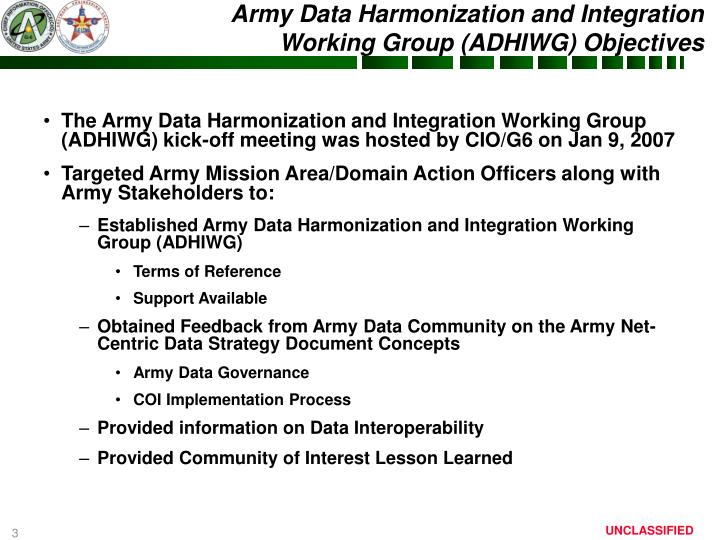 The Army Data Harmonization and Integration Working Group (ADHIWG) kick-off meeting was hosted by CIO/G6 on Jan 9, 2007