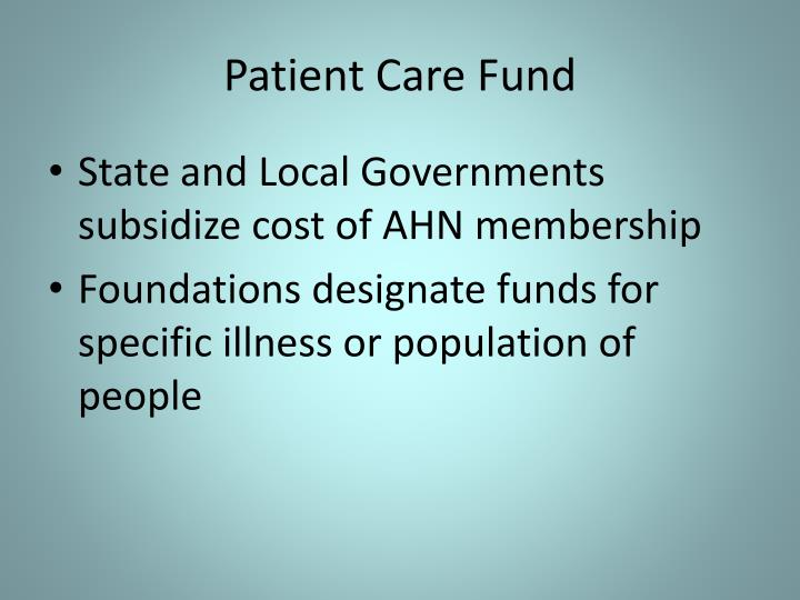 Patient Care Fund